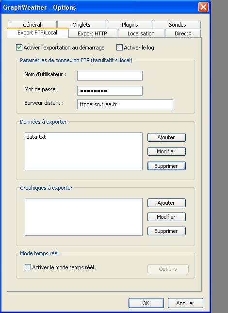 Ecran de Graphweather pour l'export texte FTP